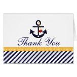 El ancla náutica le agradece amarillo de las tarje
