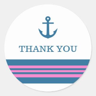 El ancla náutica rosada azul le agradece los pegatinas redondas