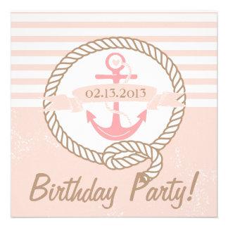 El ancla rosada raya la invitación náutica del cum