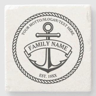El ancla y logotipo de la familia/del barco de la posavasos de piedra