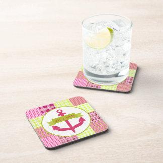 El ancla y Madras rosadas inspiraron al práctico d Posavasos De Bebida