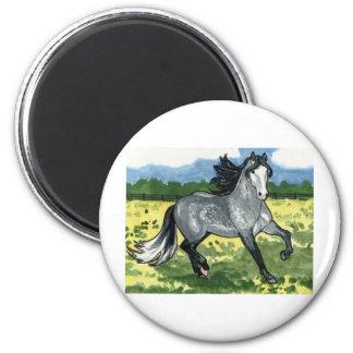 El andaluz Dapple arte gris del caballo Imán Redondo 5 Cm