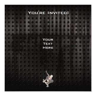 El andar en monopatín; Negro fresco Invitación 13,3 Cm X 13,3cm