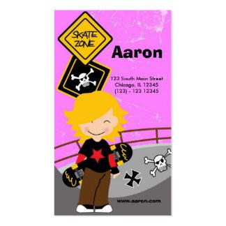 El andar en monopatín (rosa) tarjetas de visita