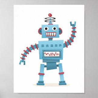 El androide retro lindo del robot embroma arte de  póster