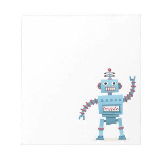 El androide retro lindo del robot embroma el dibuj bloc de notas