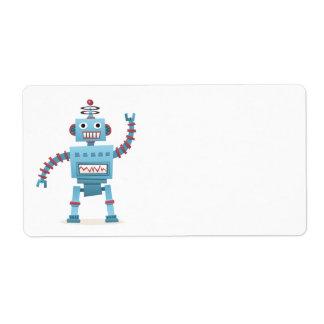 El androide retro lindo del robot embroma el dibuj etiqueta de envío