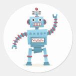 El androide retro lindo del robot embroma el dibuj pegatina redonda