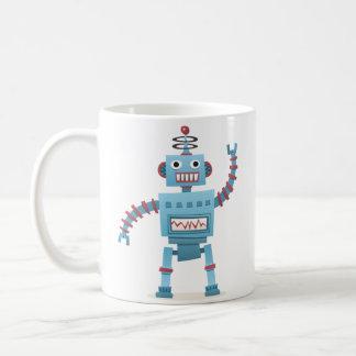 El androide retro lindo del robot embroma el dibuj taza