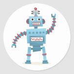 El androide retro lindo del robot embroma el pegatina redonda