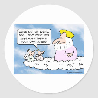 El ángel aconsejó a dios en crear a gente pegatina redonda