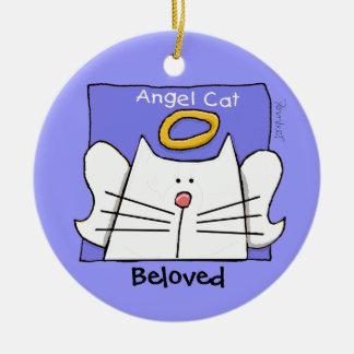 El ángel blanco del gato personaliza adorno