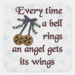 El ángel consigue sus alas calcomanía cuadrada personalizada