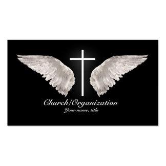 El ángel cruzado blanco religioso se va volando la tarjetas de visita