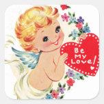 El ángel de la querube de la tarjeta del día de calcomania cuadradas