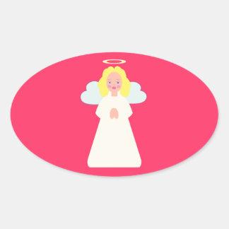 El ángel de los niños con las alas y halo del pegatina ovalada