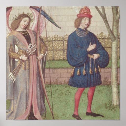 El ángel del amor que aparece a un amante en jardí póster