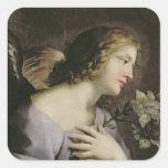 El ángel del anuncio, c.1650 calcomanía cuadrada