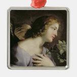 El ángel del anuncio, c.1650 adorno cuadrado plateado