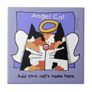 El ángel del gato de calicó personaliza azulejo cerámica