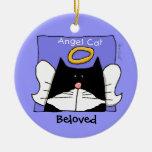 El ángel del gato del smoking personaliza ornamento de navidad