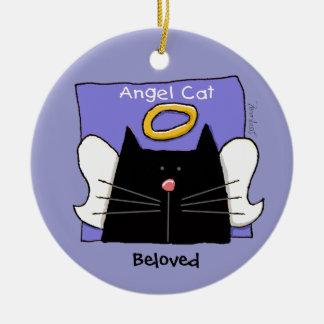 El ángel del gato negro personaliza adorno navideño redondo de cerámica