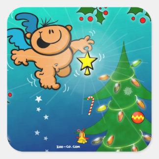 El ángel del navidad y la estrella que falta pegatina cuadrada