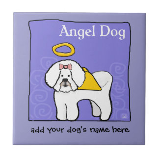 El ángel del perro de Bichon Frise personaliza la  Azulejo Cuadrado Pequeño