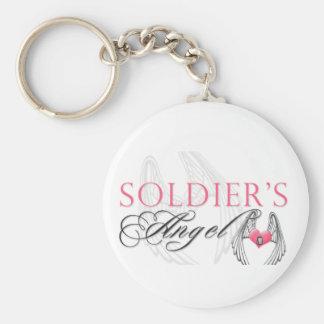 El ángel del soldado llavero redondo tipo pin