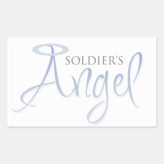 El ángel del soldado rectangular pegatinas