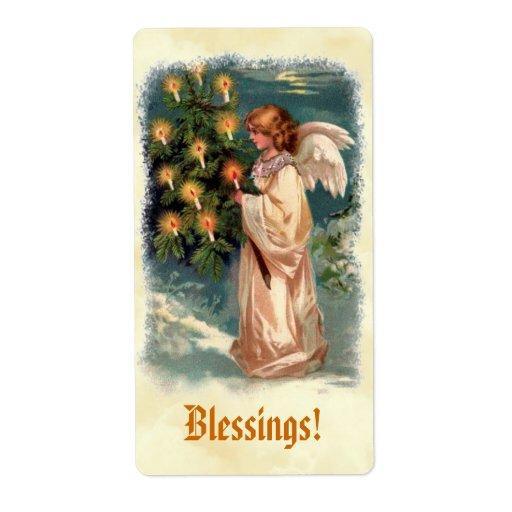 El ángel del vintage del Victorian mira al trasluz Etiqueta De Envío