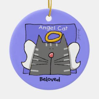 El ángel gris del gato de Tabby personaliza Adorno Redondo De Cerámica