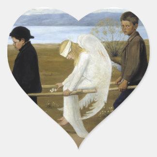 El ángel herido pegatina en forma de corazón