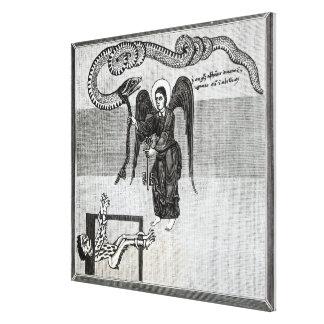 El ángel, llevando a cabo las llaves del infierno impresión en tela