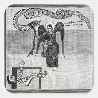 El ángel, llevando a cabo las llaves del infierno colcomanias cuadradas