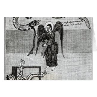 El ángel, llevando a cabo las llaves del infierno tarjeta de felicitación