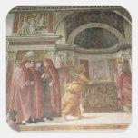El ángel que aparece a St. Zacharias en Pegatina Cuadrada