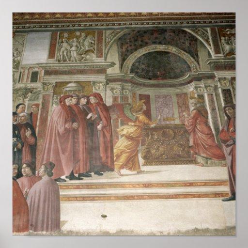 El ángel que aparece a St. Zacharias en Póster