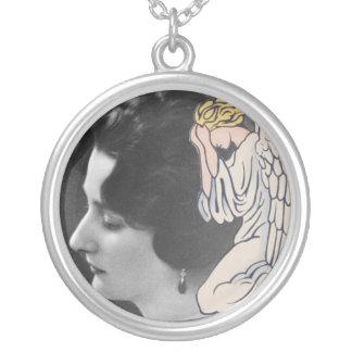 El ángel que llora añade la foto de amada salida colgante redondo