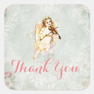El ángel que toca un violín le agradece pegatina cuadrada