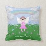 El ángel rosado personalizado embroma la almohada