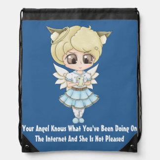 El ángel sabe lo que usted ha estado haciendo en e mochila