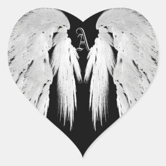 El ÁNGEL SE VA VOLANDO el monograma tocado gris Pegatina En Forma De Corazón