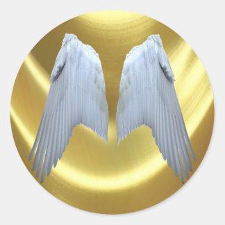 El ángel se va volando el oro pegatina redonda