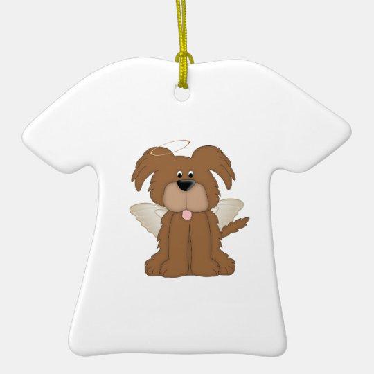 El ángel se va volando el perro de perrito del adorno navideño de cerámica en forma de playera