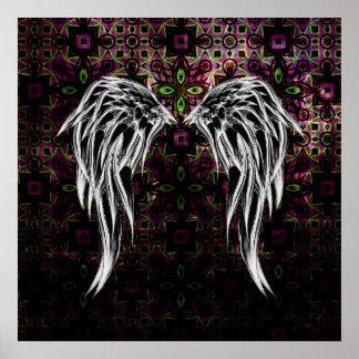 El ángel tribal negro fresco se va volando el póster