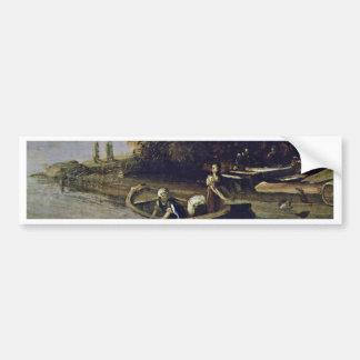 El ángel y el Tobias con el detalle de los pescado Pegatina De Parachoque