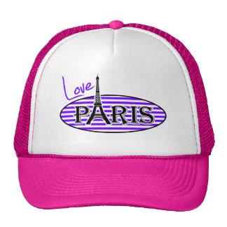 El añil, la violeta, púrpura y blanco raya París Gorras