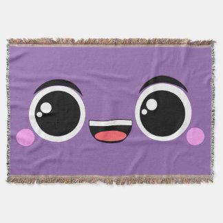 El animado feliz de Kawaii hizo frente a púrpura Manta