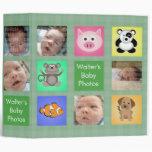 ¡El animal ajusta el álbum de foto verde del bebé